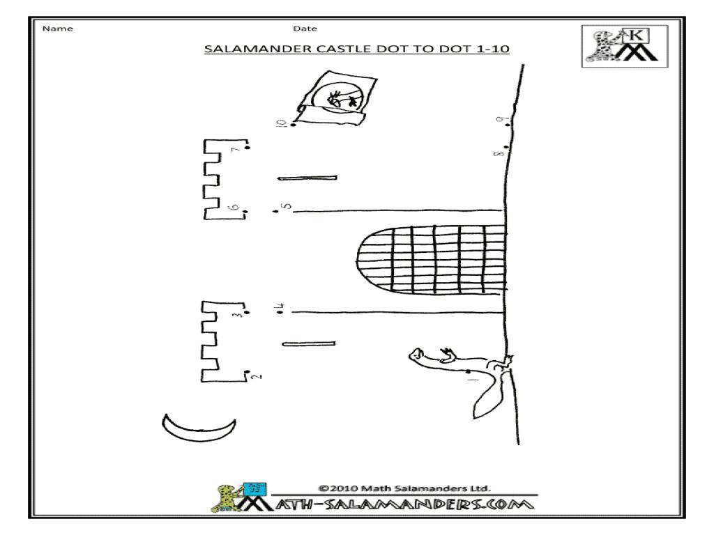Salamander Castle Dot To Dot 1-10 Worksheet For Pre-K