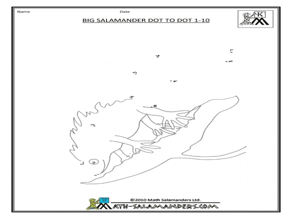 Big Salamander Dot-To-Dot 1-10 Worksheet For Kindergarten