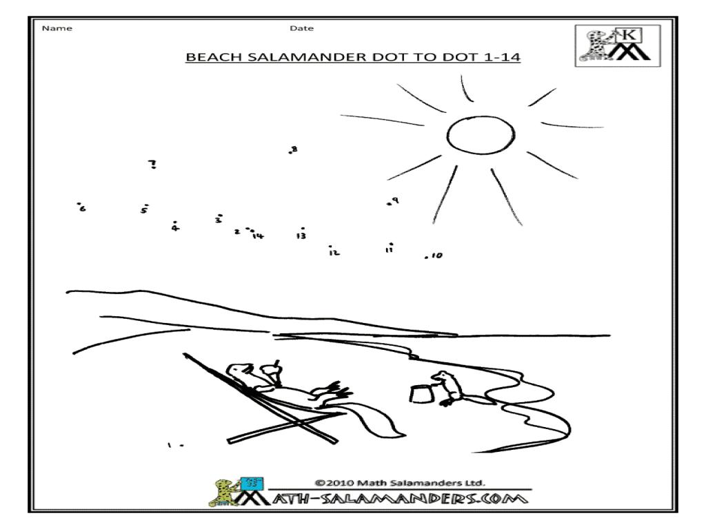 Beach Salamander Dot To Dot 1-14 Worksheet For Pre-K