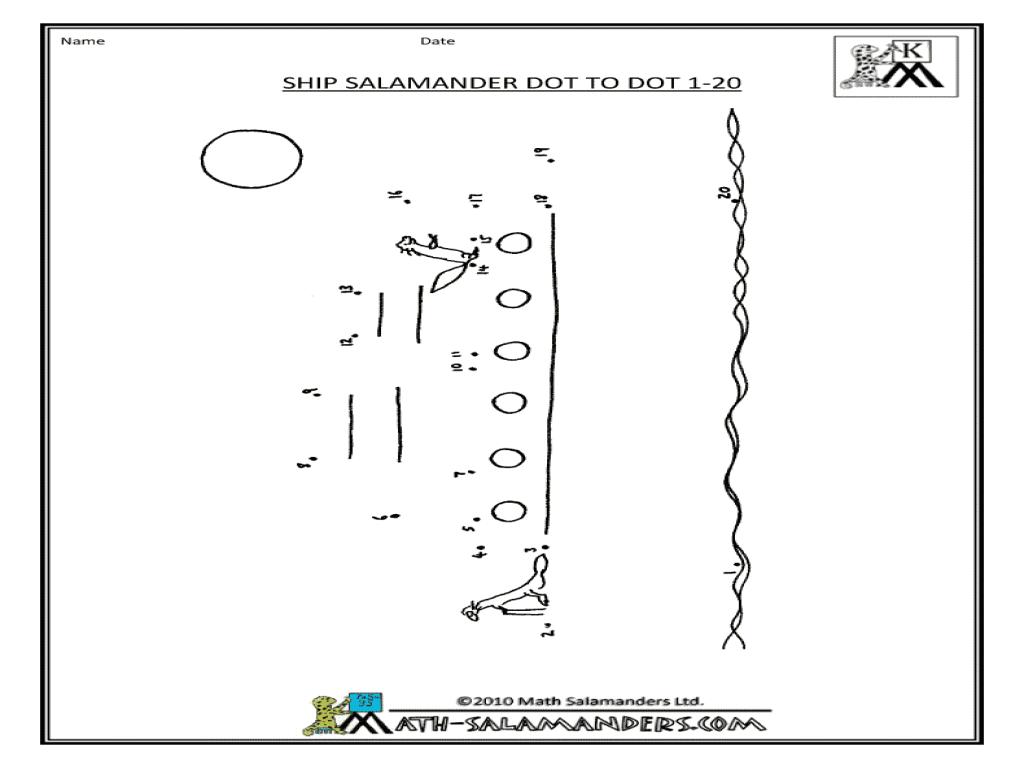 Ship Salamander Dot-To-Dot Worksheet For Kindergarten