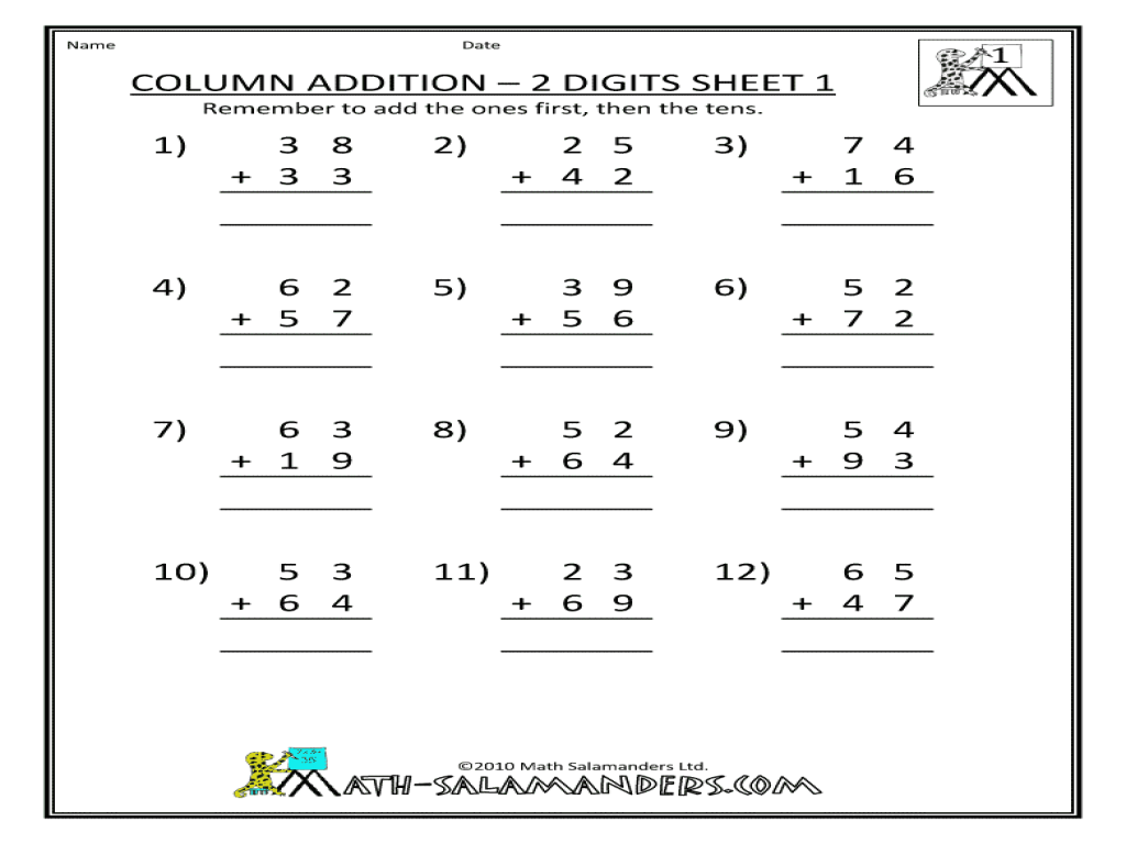 column addition 2 digits sheet 1 worksheet for 2nd 3rd grade lesson planet. Black Bedroom Furniture Sets. Home Design Ideas