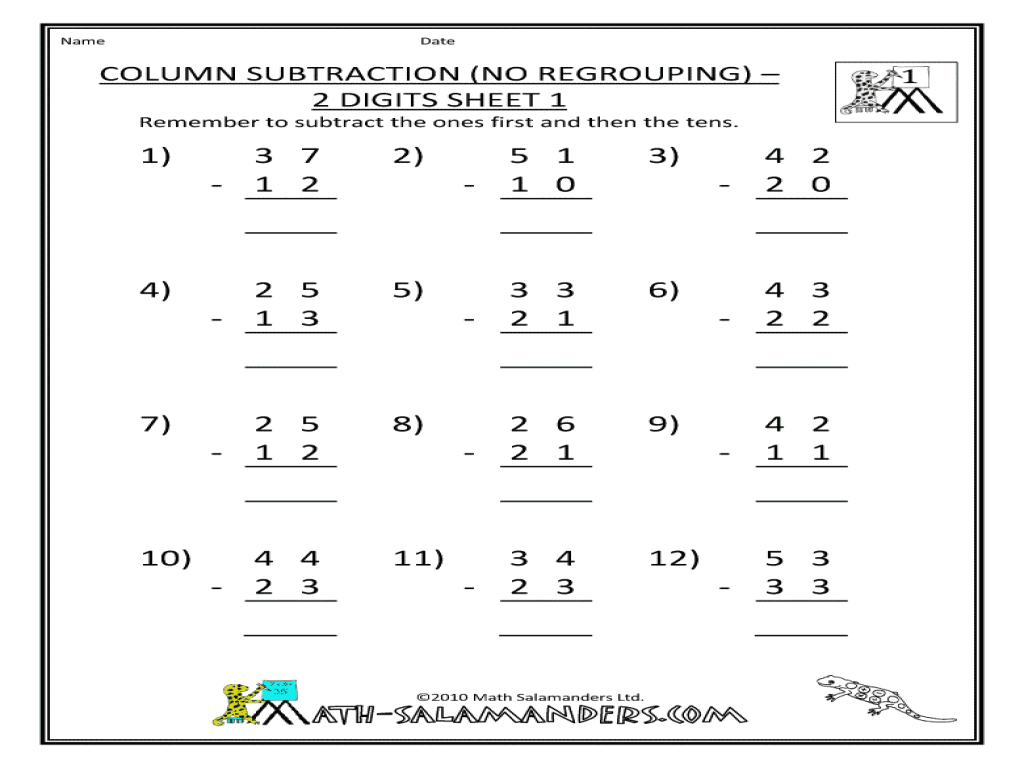 Column Subtraction No Regrouping   Digits Sheet  Worksheet For   Column Subtraction No Regrouping   Digits Sheet  Worksheet