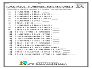 place value hundreds tens and ones 3 worksheet for 5th 6th grade lesson planet. Black Bedroom Furniture Sets. Home Design Ideas