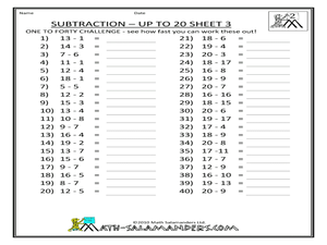 Subtraction - Up to 20, Sheet 3 Worksheet
