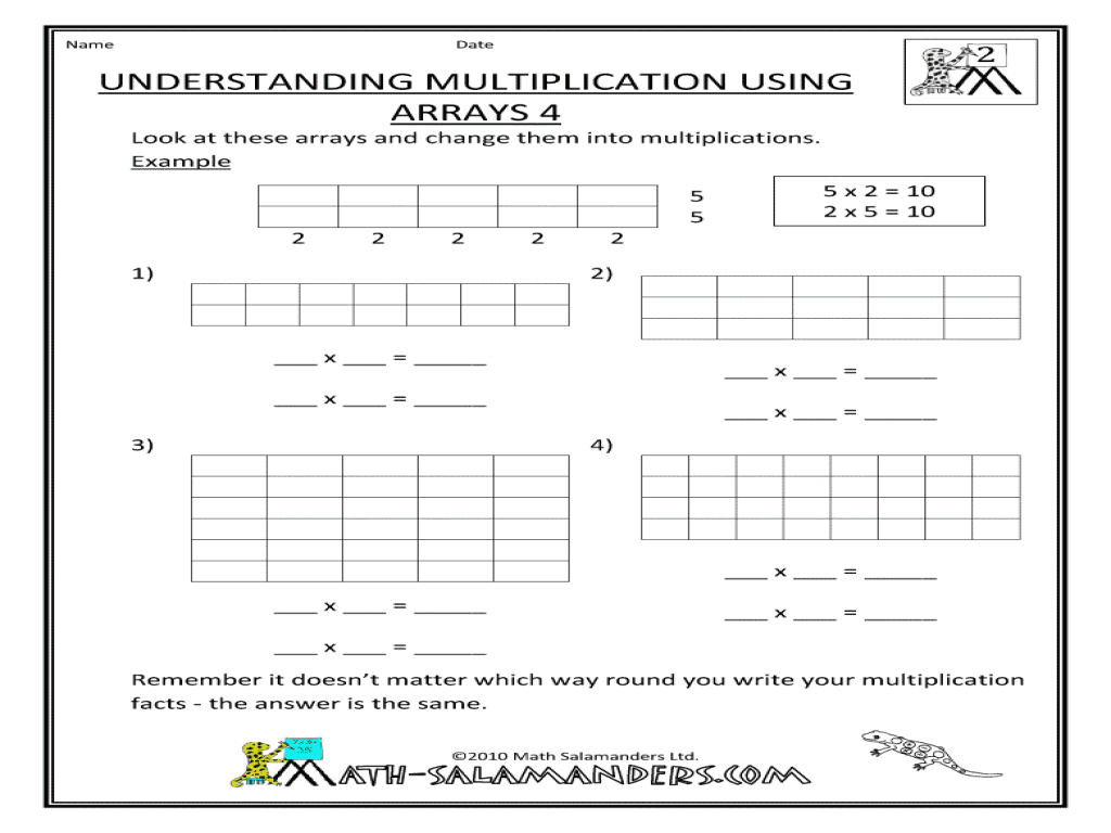 Understanding Multiplication Using Arrays 4 Worksheet For