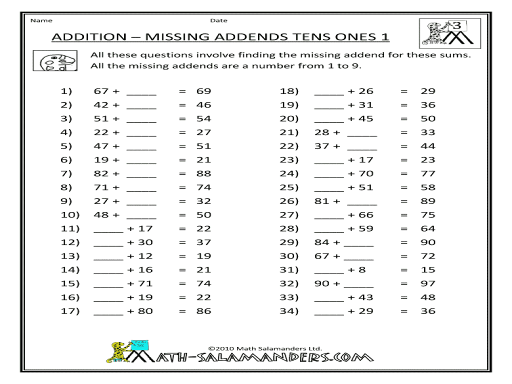 Addition Missing Addends Tens And Ones Worksheet For 2nd