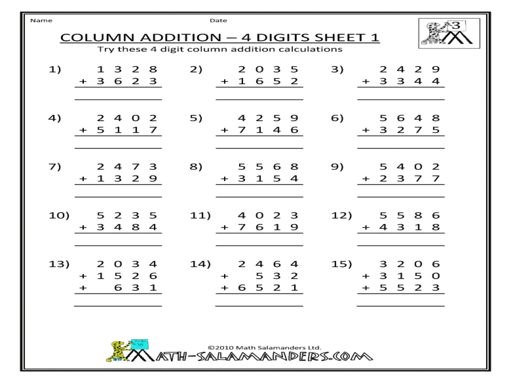 column addition 4 digits sheet 1 worksheet for 3rd 5th grade lesson planet. Black Bedroom Furniture Sets. Home Design Ideas