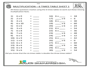 Multiplication:  6 Times Table Worksheet