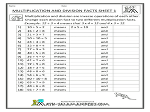 Multiplication and Division Facts Sheet 1 Worksheet