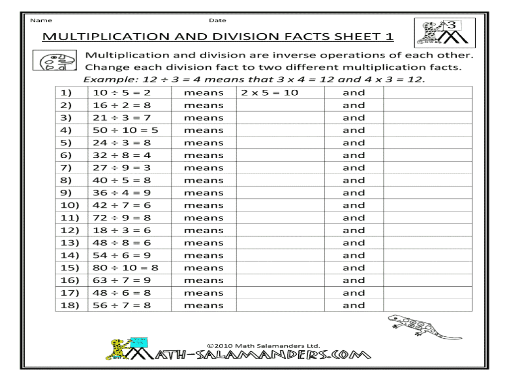 Multiplication and Division Facts Sheet 1 3rd 4th Grade – Multiplication and Division Facts Worksheet