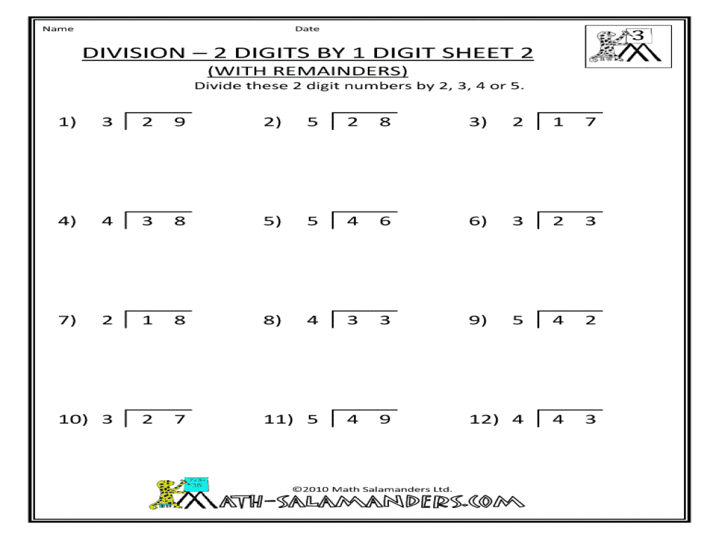 division 2 digits by 1 digit sheet 2 worksheet for 3rd 4th grade lesson planet. Black Bedroom Furniture Sets. Home Design Ideas