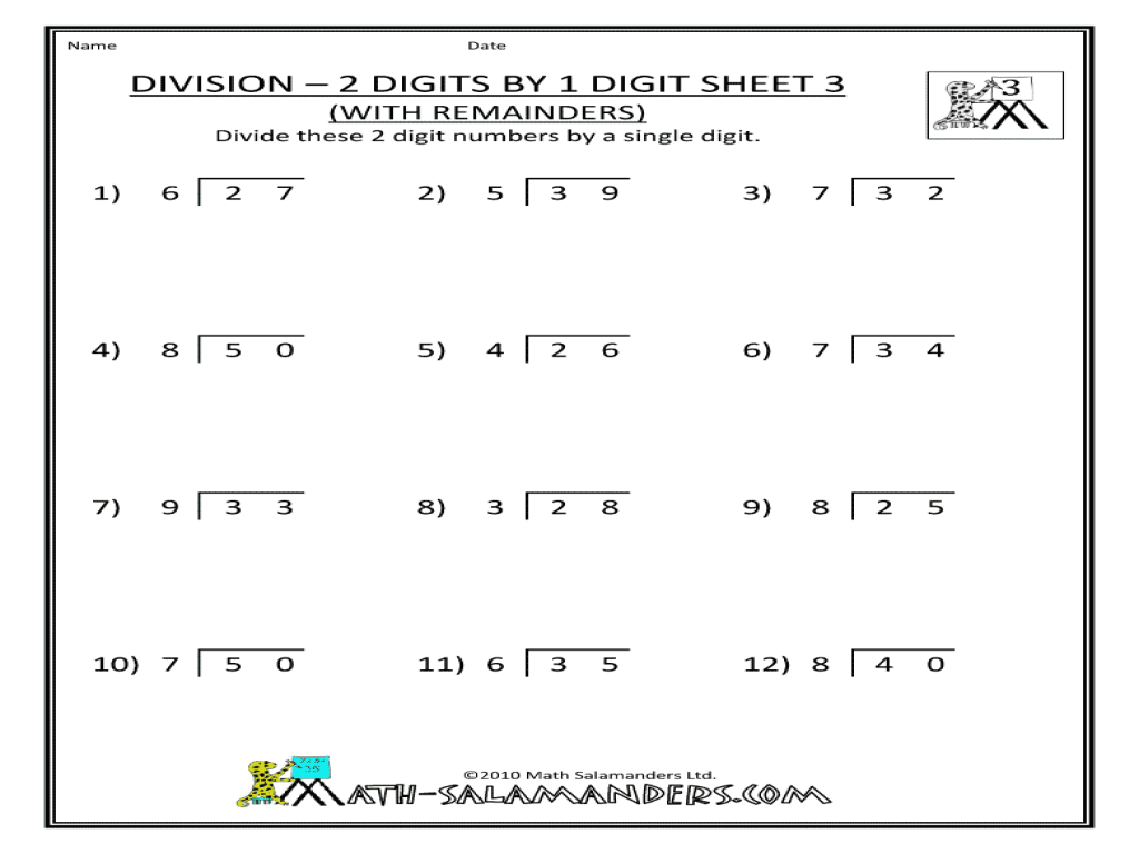 Division Two Digits By One Digit 3 Worksheet For 3rd