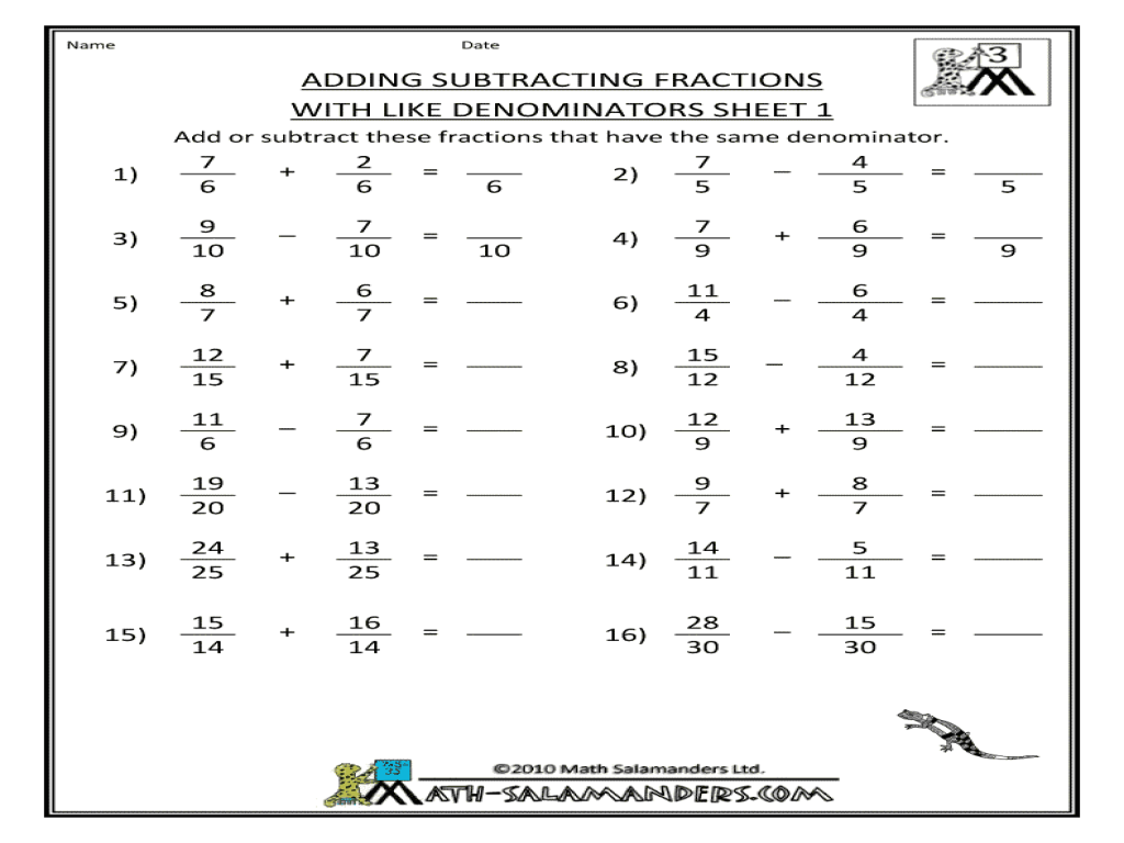 adding subtracting fractions with like denominators sheet 1 worksheet for 3rd 4th grade. Black Bedroom Furniture Sets. Home Design Ideas