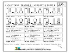 place value tenths and hundredths 1 worksheet for 2nd 3rd grade lesson planet. Black Bedroom Furniture Sets. Home Design Ideas