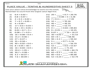 place value tenths and hundredths worksheet for 3rd 4th grade lesson planet. Black Bedroom Furniture Sets. Home Design Ideas