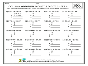 Column Addition: Money 3 Digits Worksheet