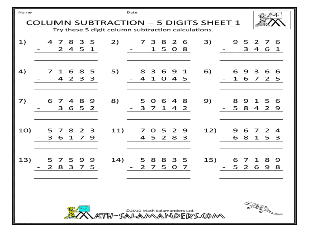 column subtraction 5 digits sheet 1 worksheet for 3rd 5th grade lesson planet. Black Bedroom Furniture Sets. Home Design Ideas