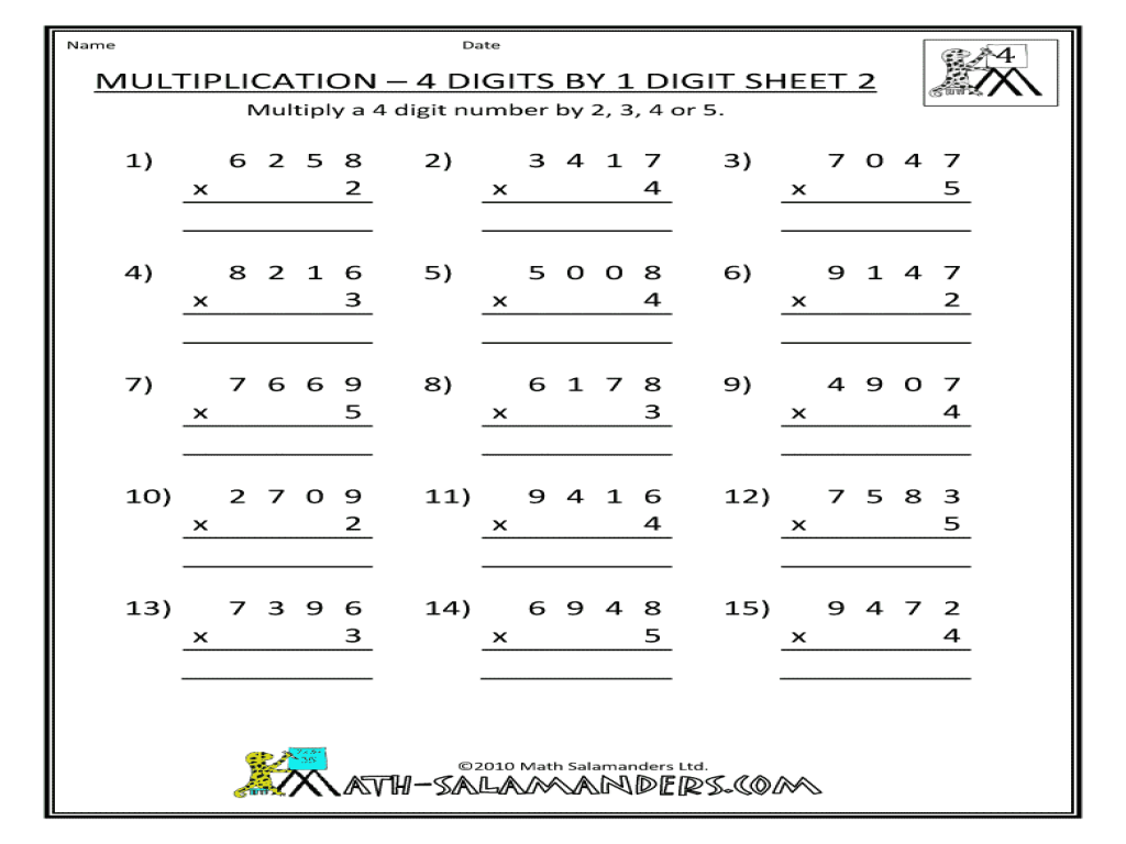 Multiplication Four Digits By One Digit Worksheet For 3rd