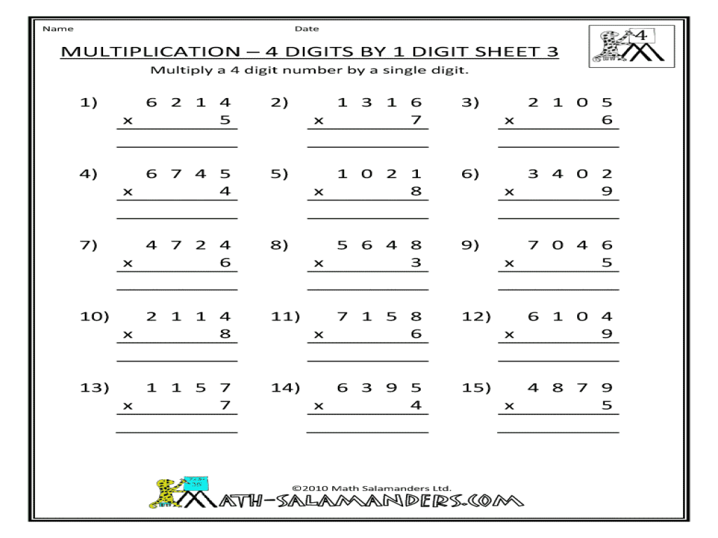 Multiplication 4 digits by 1 digit sheet 3 3rd 4th Grade – 4 Digit by 1 Digit Multiplication Worksheets