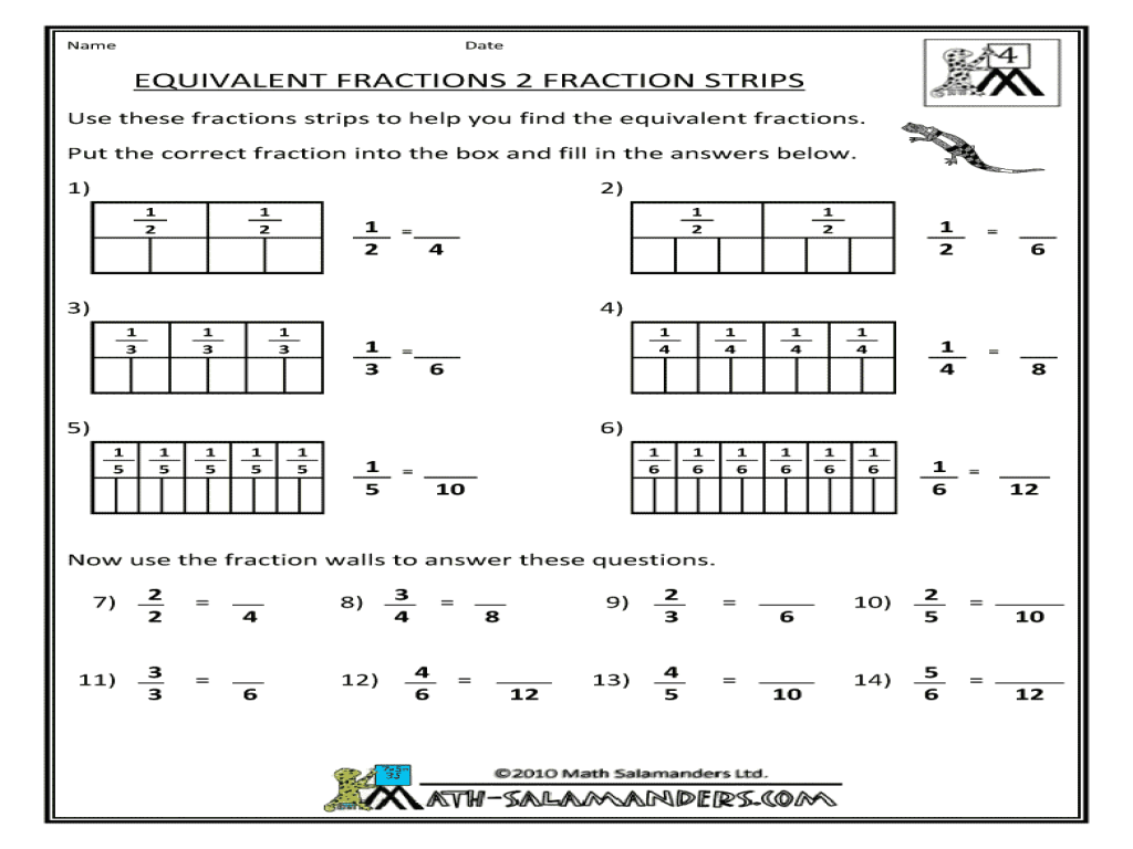 Equivalent Fractions Fraction Strips Worksheet For 3rd