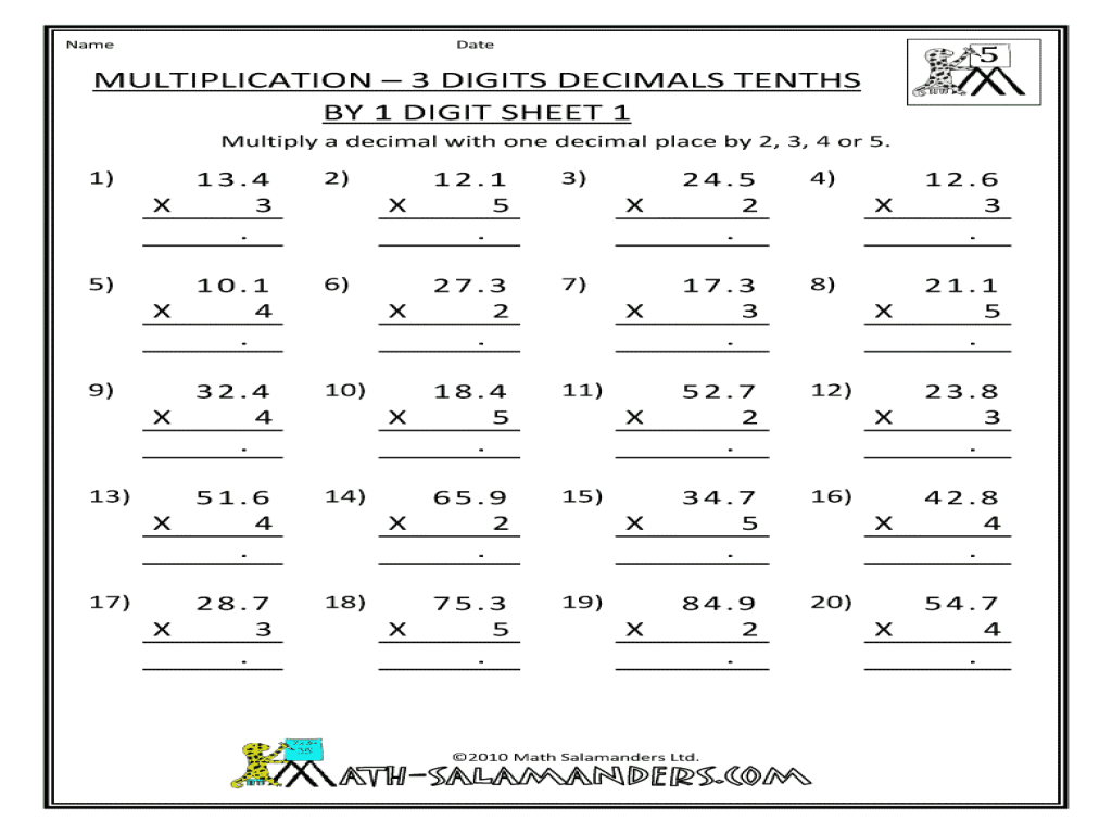 - Multiplication - 3 Digits Decimals Tenths By 1 Digit Worksheet For