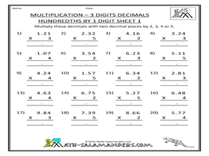 Multiplication - 3 Digits Decimals Hundredths by 1 Digit Worksheet
