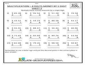 money multiplication  digits by  digit worksheet for rd  th  money multiplication  digits by  digit worksheet