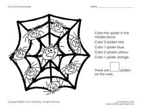 count and color spiders worksheet for kindergarten 2nd grade lesson planet. Black Bedroom Furniture Sets. Home Design Ideas