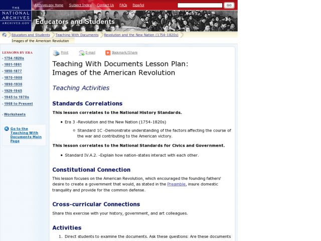 Teaching With Documents Lesson Plan: Images of the American Revolution Lesson Plan