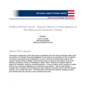 A More Perfect Union:  Barack Obama's Race Speech at the National Constitution Center Lesson Plan