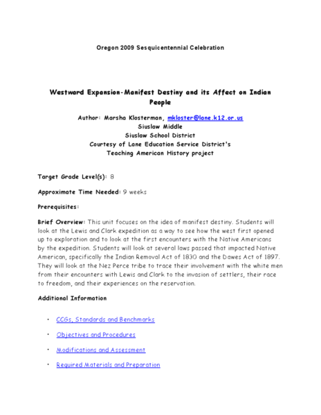 Native Americans And Westward Expansion Lesson Plans
