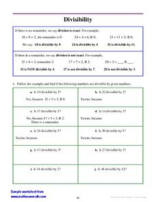 Divisibility Worksheet
