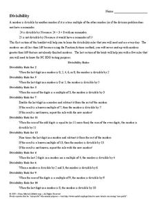divisibility rules worksheet for th grade  lesson planet divisibility rules worksheet divisibility rules worksheet