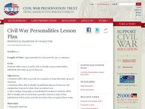 Civil War Personalities Lesson Plan