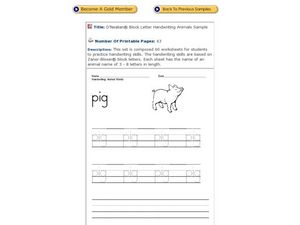 "Handwriting: Animal Words: ""Pig"" Worksheet"