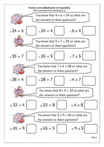 Division and Multiplication Corresponding Worksheet