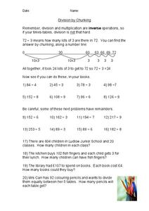 Division by Chunking Worksheet