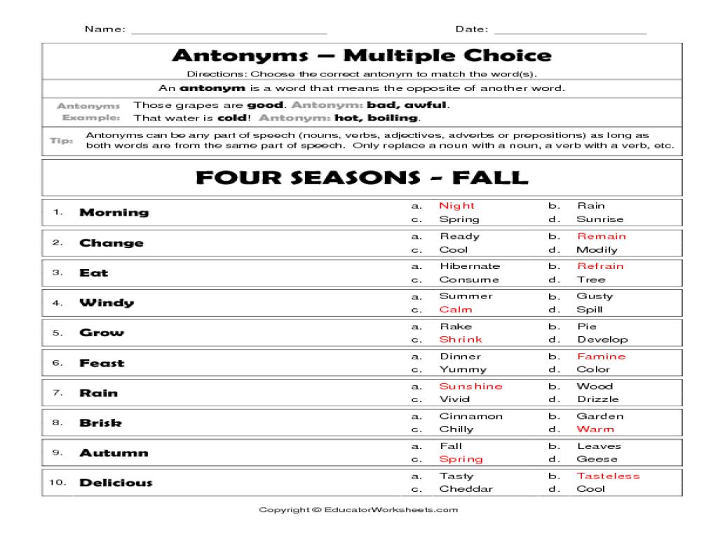 antonyms four seasons fall worksheet for 3rd 4th grade lesson planet. Black Bedroom Furniture Sets. Home Design Ideas