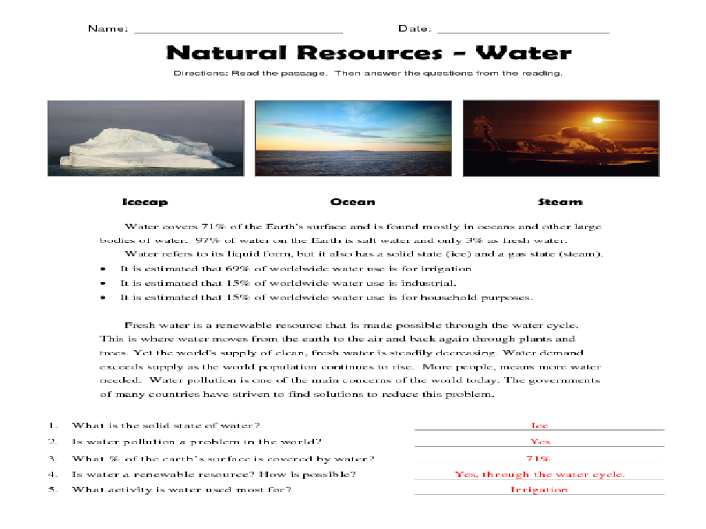 Reading Comprehension: Natural Resources - Water Worksheet for 3rd