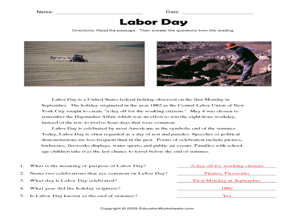 Labor Day Reading Prehension Worksheet For 3rd 5th