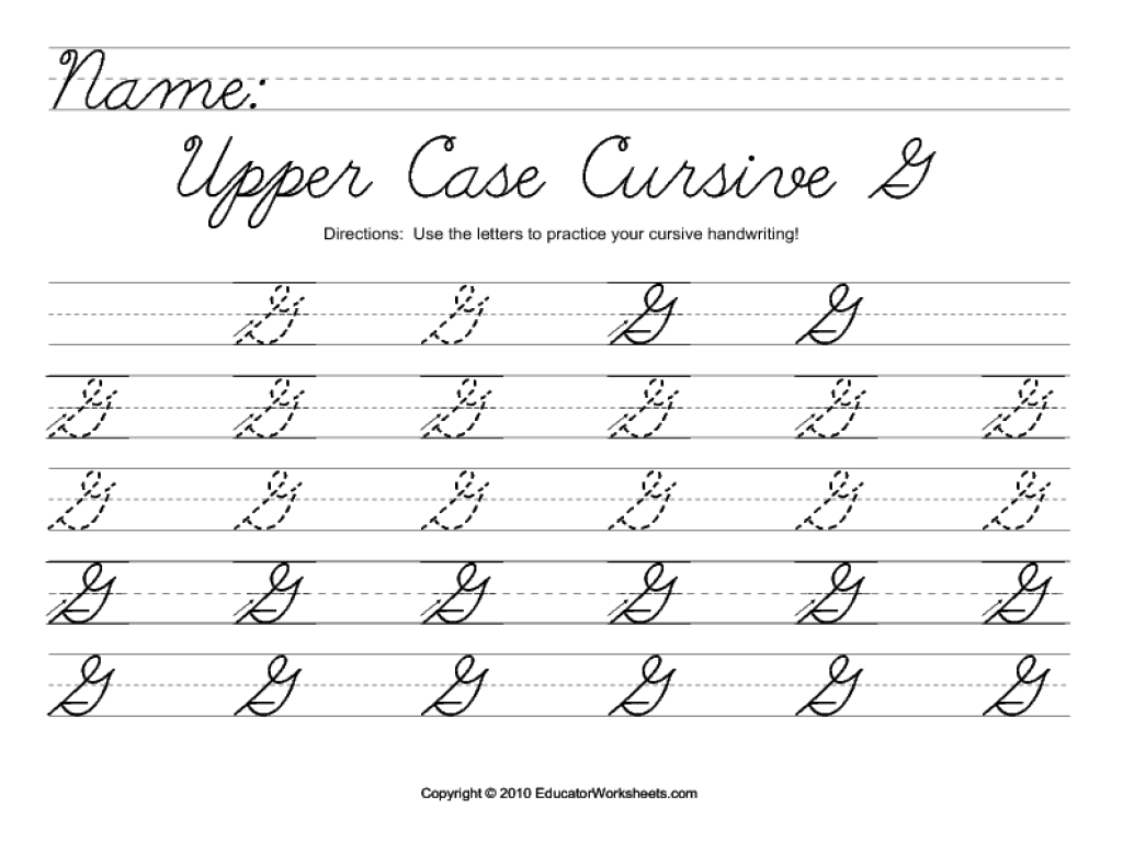upper case cursive g worksheet for 2nd 3rd grade lesson planet. Black Bedroom Furniture Sets. Home Design Ideas