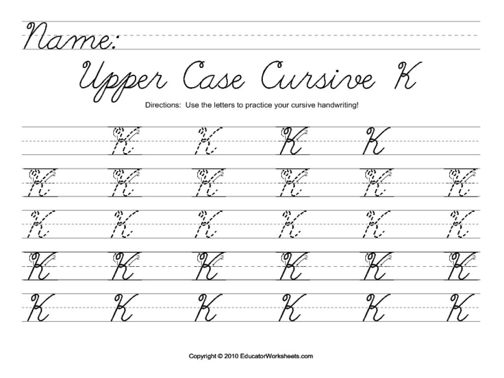 Upper Case Cursive K Worksheet for 2nd - 3rd Grade | Lesson Planet