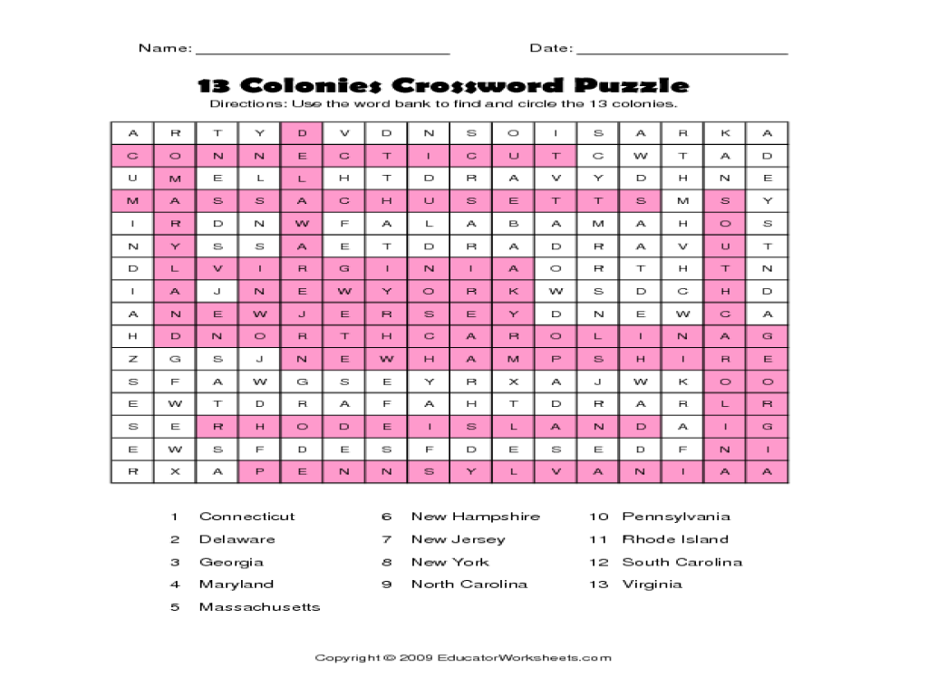 13 Colonies Crossword Puzzle Worksheet For 3rd 6th Grade