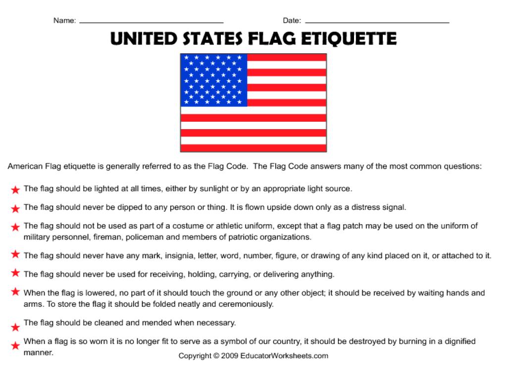 Worksheets Etiquette Worksheets united states flag etiquette 4th 8th grade worksheet lesson planet
