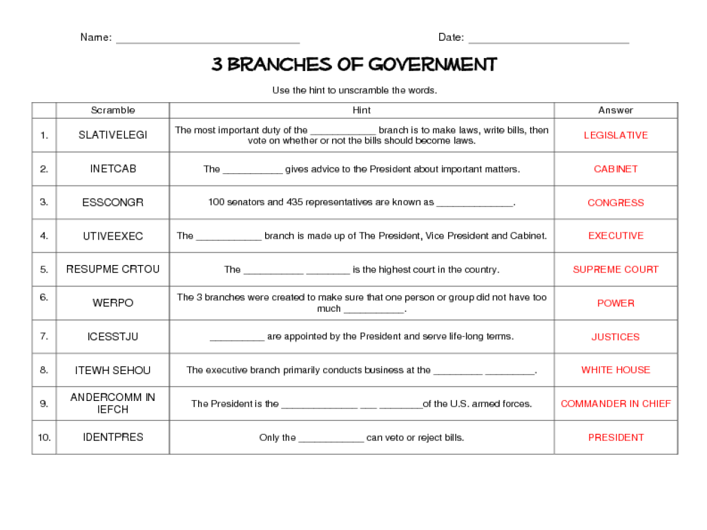 3 Branches of Government Word Scramble 6th - 8th Grade Worksheet ...