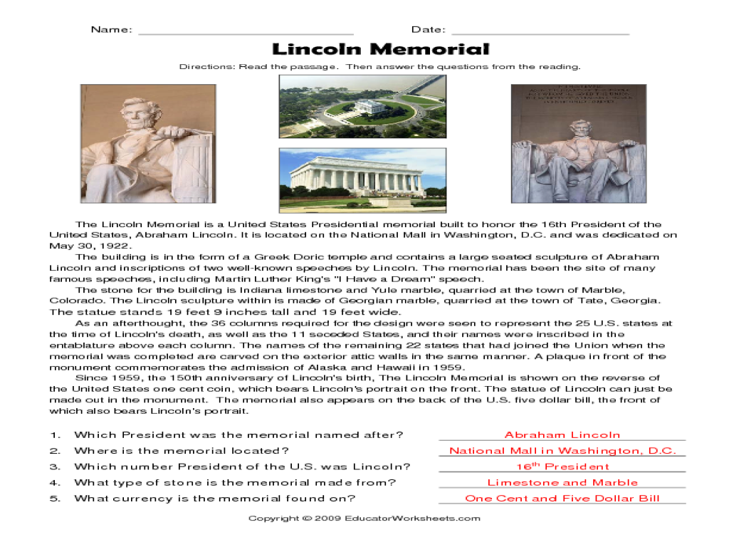 Reading Comprehension Lincoln Memorial 3rd 5th Grade Worksheet – Abraham Lincoln Worksheets