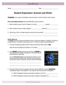 Student Exploration: Summer and Winter Interactive