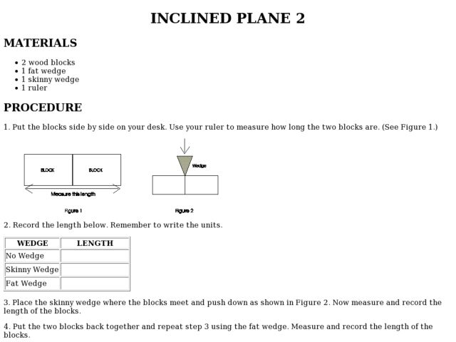 Inclined Plane Lab for Intensive Learners | Simple machines ...