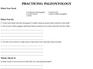 Practicing Paleontology Worksheet