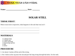 Solar Still Worksheet